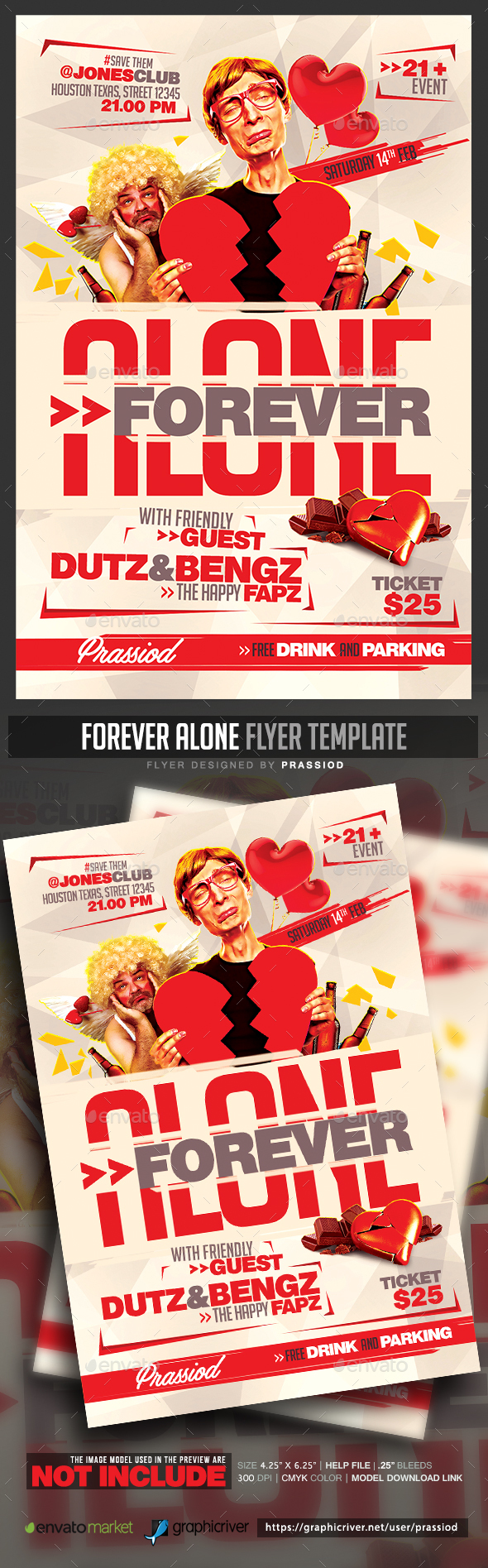 Forever Alone Flyer Template - Clubs & Parties Events