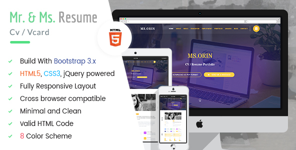 MR & MS. – CV / Resume HTML5 Template