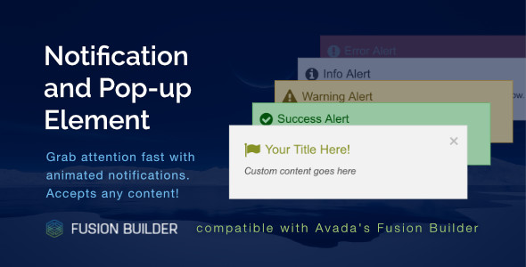 Notification & Pop-up Element for Avada v5 Fusion Builder - CodeCanyon Item for Sale