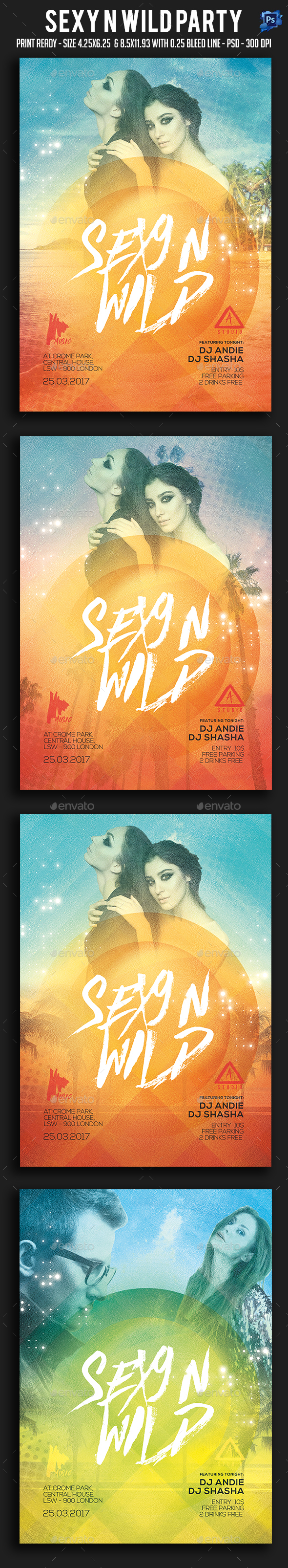 Sexy N Wild Party Flyer - Clubs & Parties Events