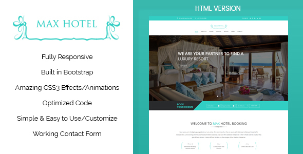 Max Hotel - Hotel Booking HTML Template - Travel Retail