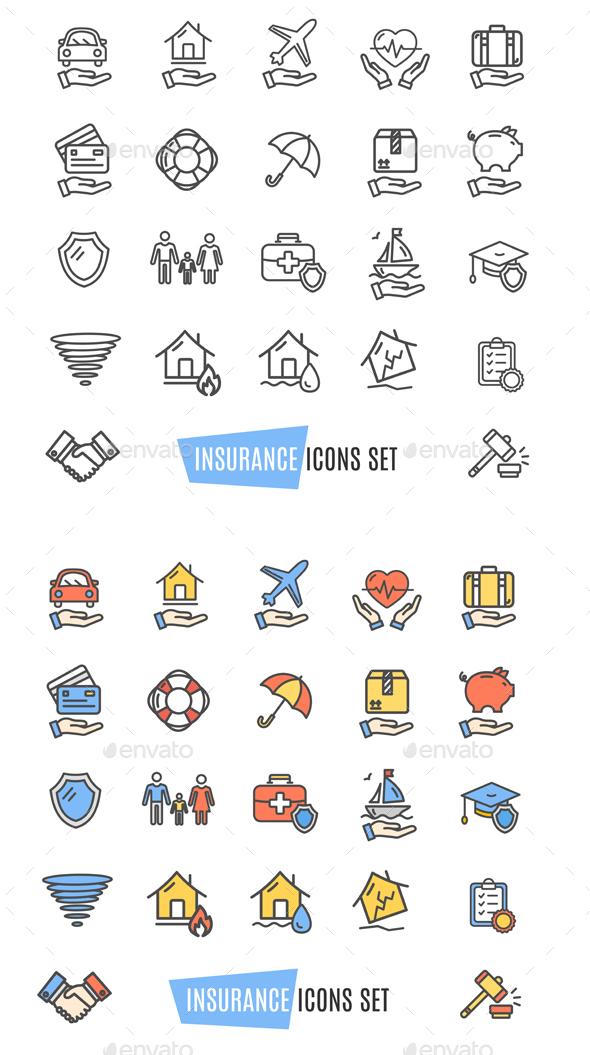 Insurance Icon Thin Line Set - Decorative Symbols Decorative