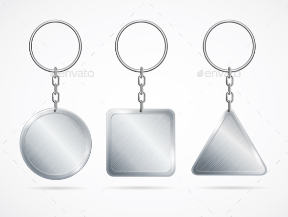 Realistic Metal Keychains Set - Man-made Objects Objects