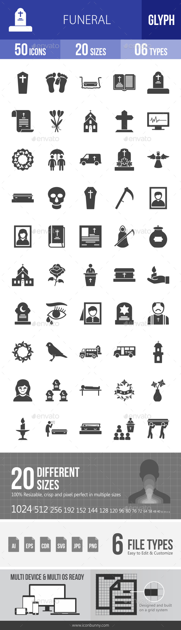 Funeral Glyph Icons - Icons