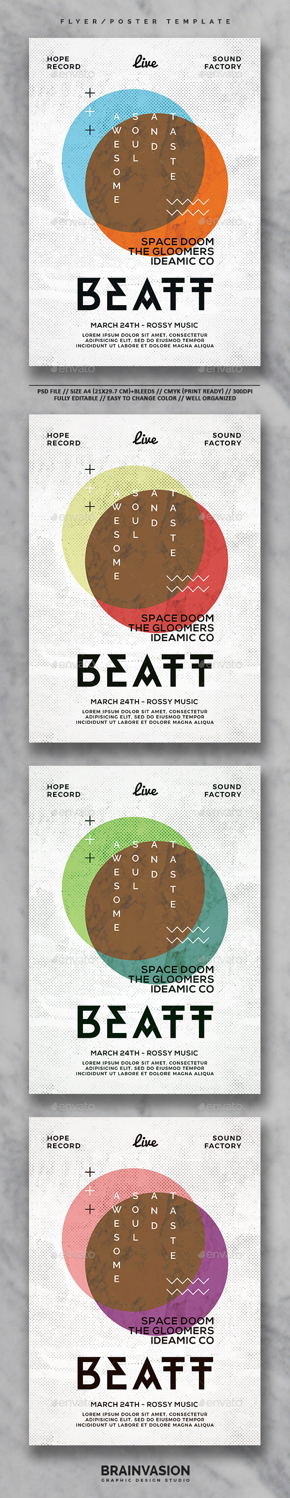 Hipster Flyer/Poster Template Vol.02 - Clubs & Parties Events