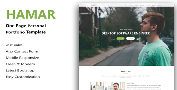 Hamar – One Page Corporate HTML Template