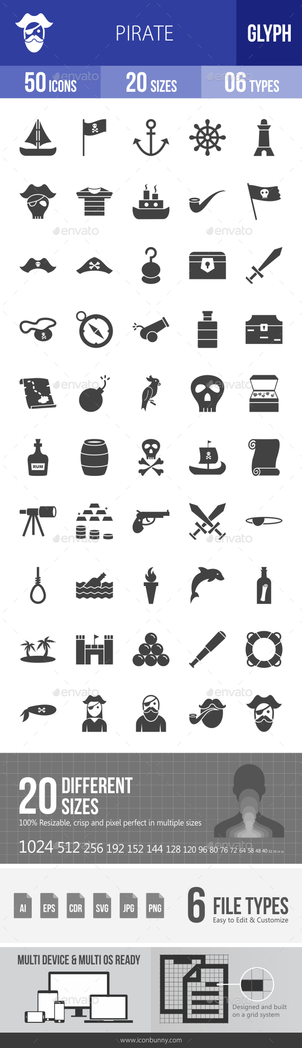 Pirate Glyph Icons - Icons