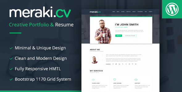Meraki One Page Resume WordPress Theme