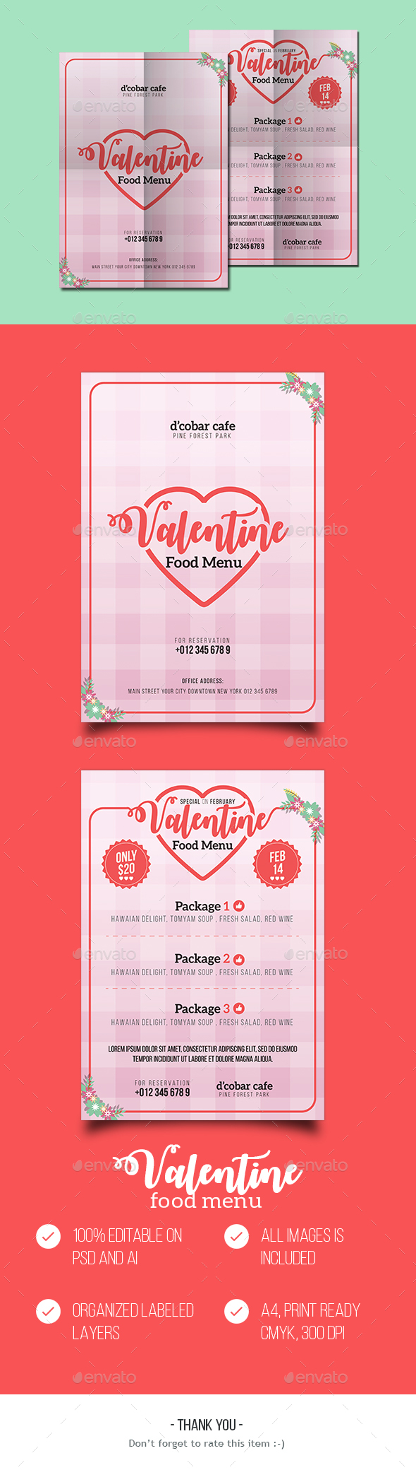 Valentine Food Menu - Food Menus Print Templates