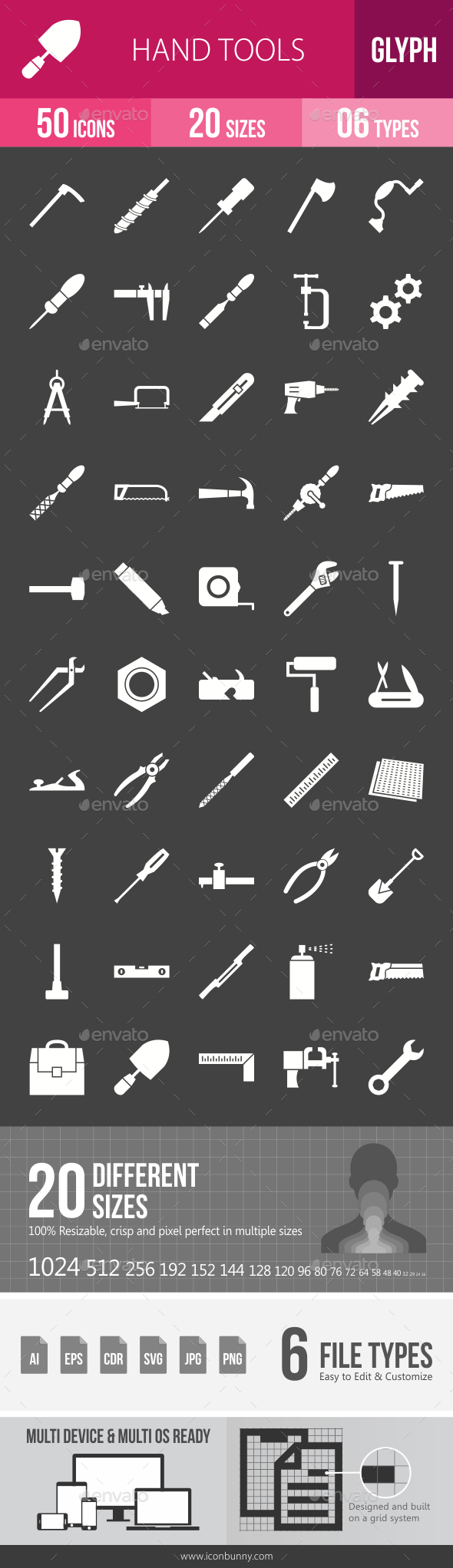 Hand Tools Glyph Inverted Icons - Icons