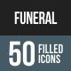 Funeral Flat Round Corner Icons
