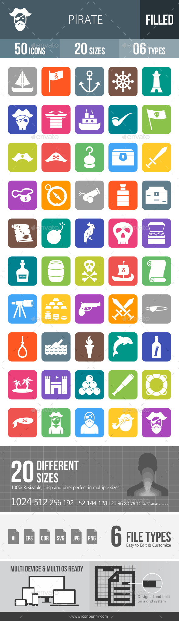Pirate Flat Round Corner Icons - Icons
