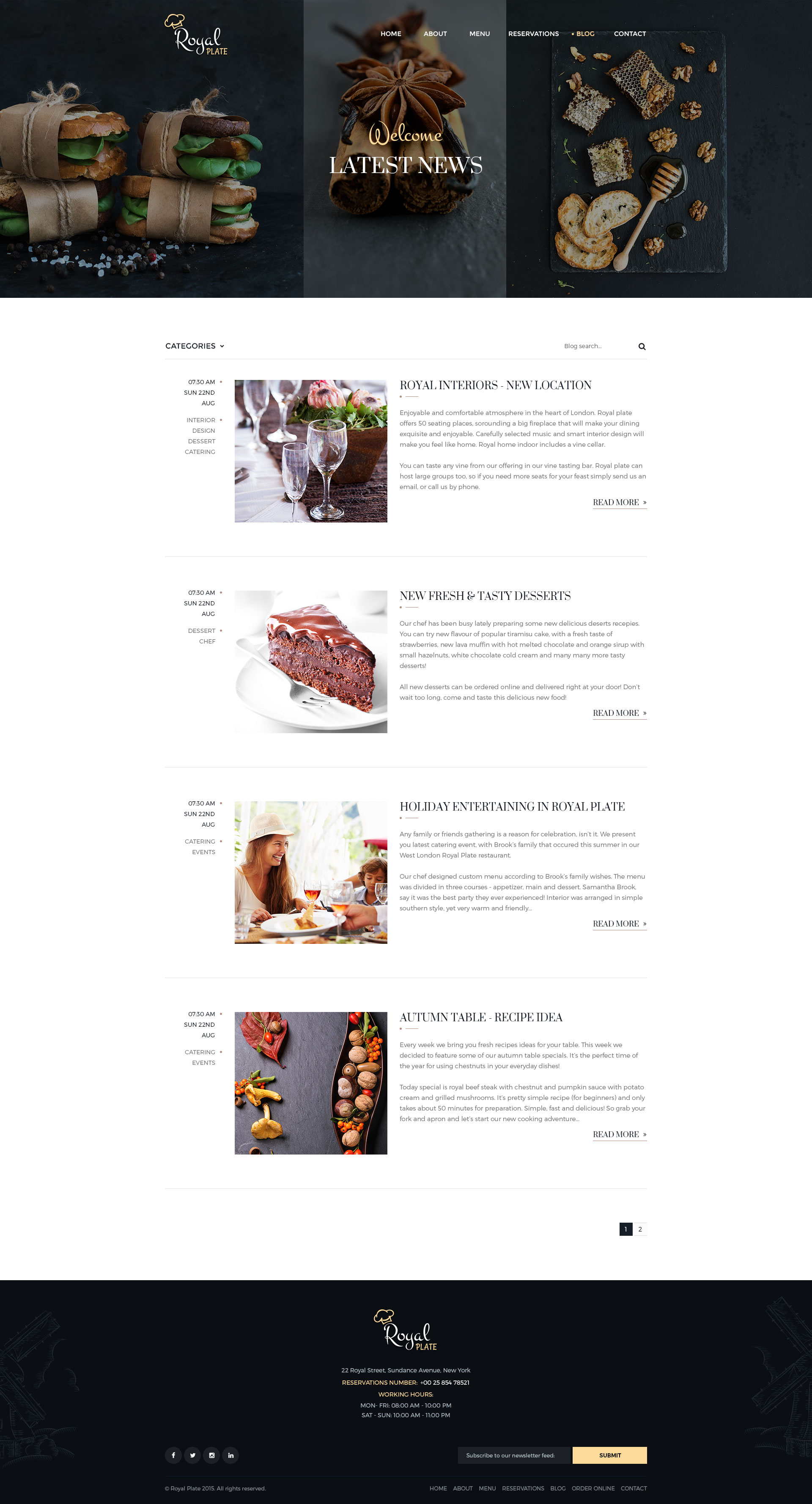 Royal plate restaurant and catering html template