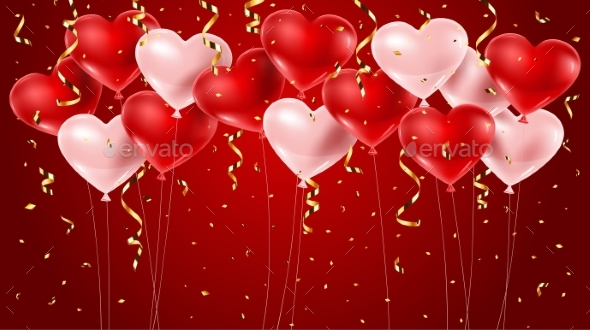 Red and Pink Balloons with Confetti - Valentines Seasons/Holidays