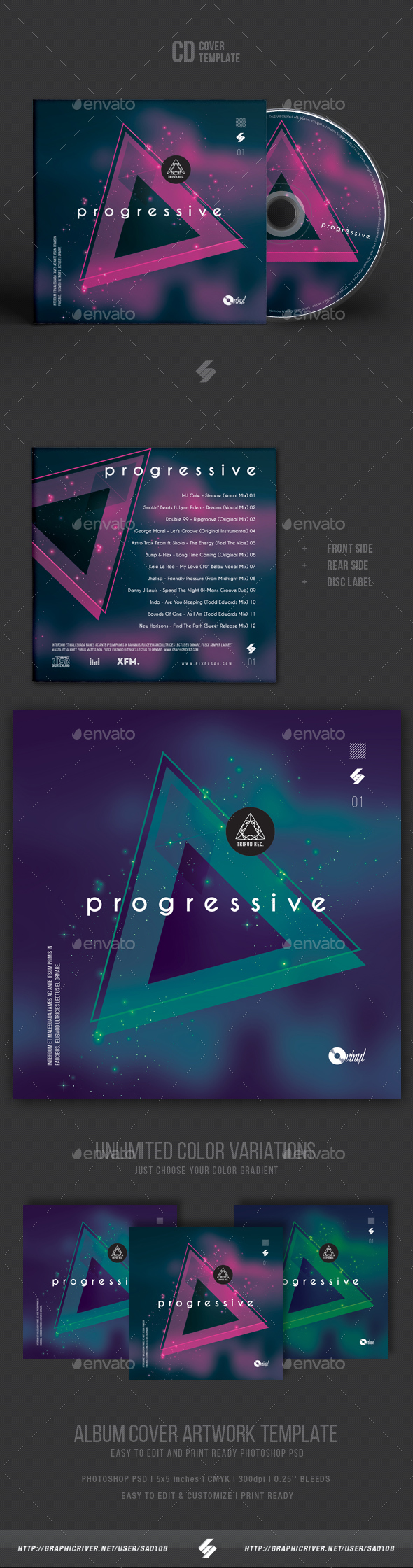 Cd Case Artwork Template | Progressive Electronic Music Cd Cover Artwork Template By Sao108