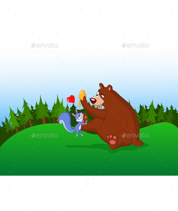Squirrel and Bear - Animals Characters