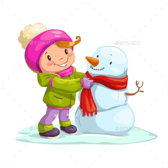 Little Girl with Snowman - People Characters