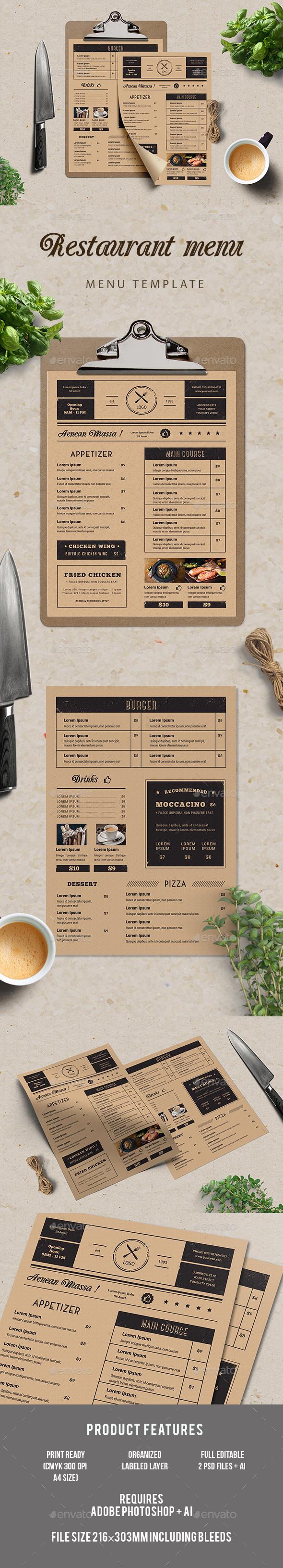 Simple Restaurant Menu - Food Menus Print Templates