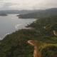 Seascape with Tropical Island,mountain Road, Beach, Rocks and Waves. Catanduanes, Philippines. Nulled