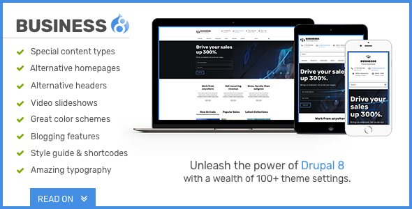 Business8 – Drupal 8 Mega-Theme for Corporate/Business Sites