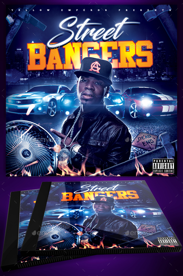 Street Bangers Mixtape CD Cover Template - CD & DVD Artwork Print Templates