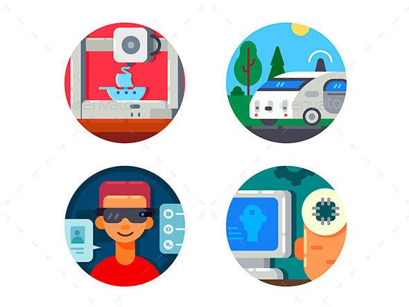 Innovative Technology Set Icons - Web Elements Vectors