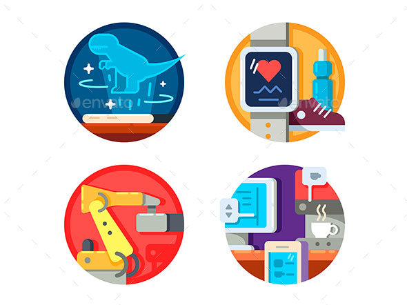 Modern Technology Set Icons - Web Elements Vectors