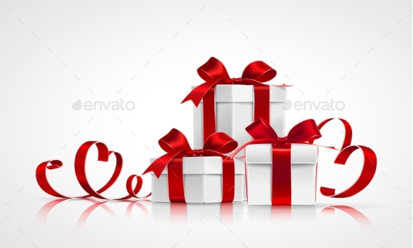 Gifts with Red Bows and Ribbons - Valentines Seasons/Holidays