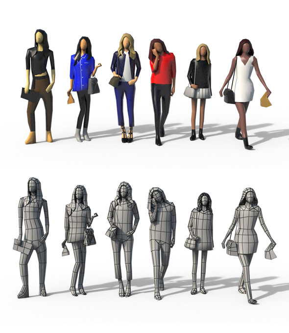 Low Poly Girls Pack - 3DOcean Item for Sale