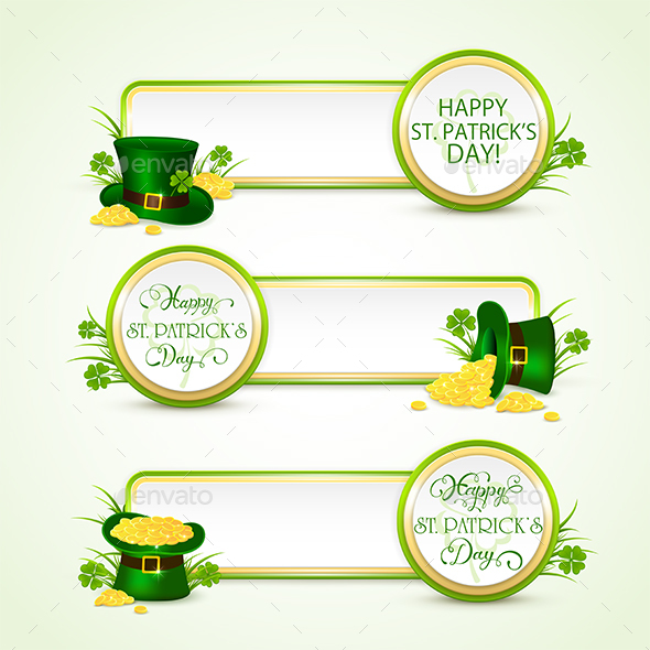 Happy Patricks Day Banners with Green Hat and Coins - Miscellaneous Seasons/Holidays