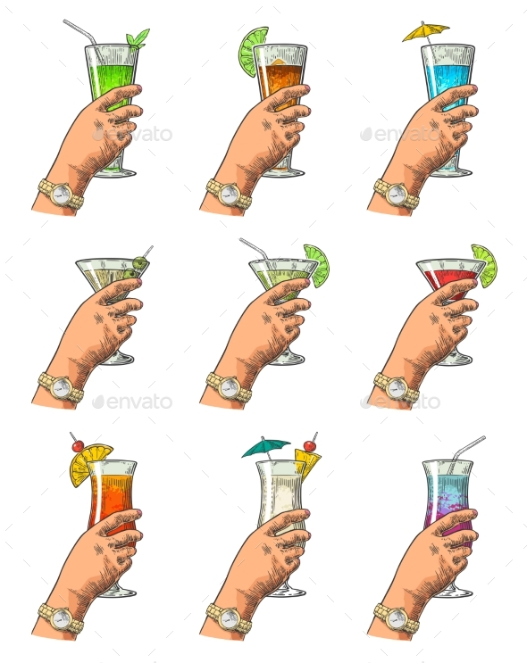 Female Hand Holding a Glasses of Cocktails - Food Objects