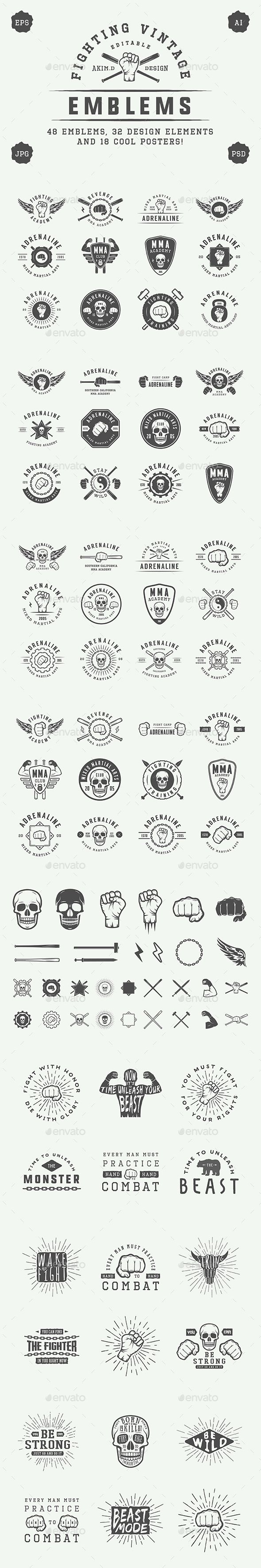 Vintage Fighting Emblems - Badges & Stickers Web Elements