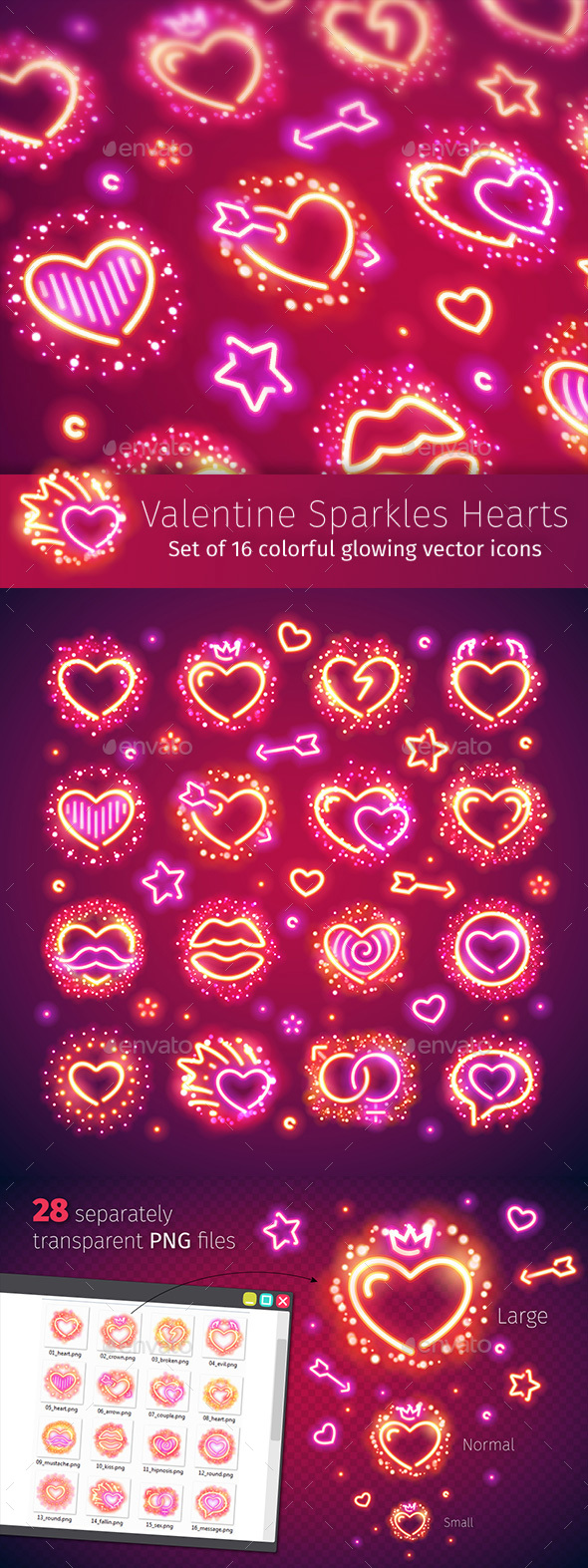 Valentine Hearts with Sparkles - Miscellaneous Icons