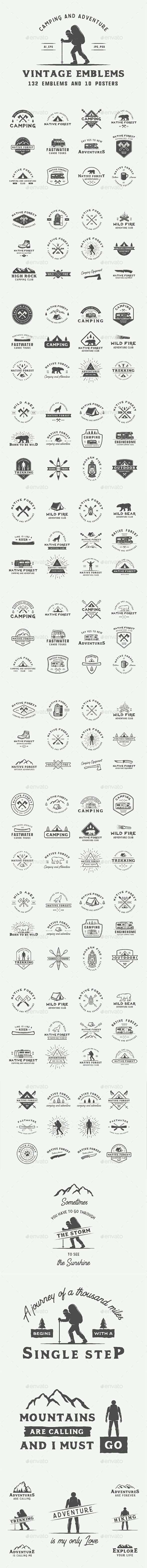 Camping and Adventure Emblems - Badges & Stickers Web Elements