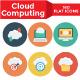 Cloud Computing Flat Circle Icons