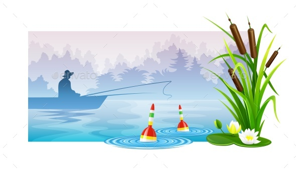 FishIng on Boat in a River - Sports/Activity Conceptual