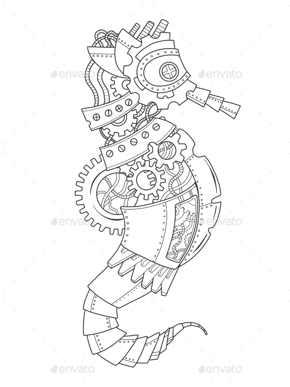 Steampunk Style Sea Horse Coloring Book - Patterns Decorative