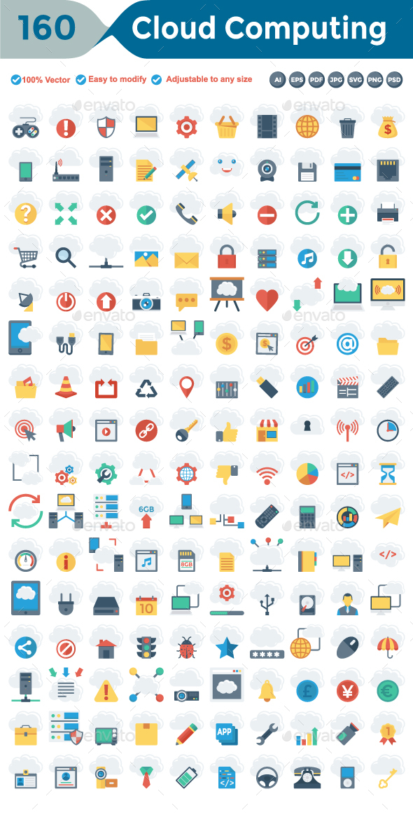 Cloud Computing Flat Icons - Technology Icons