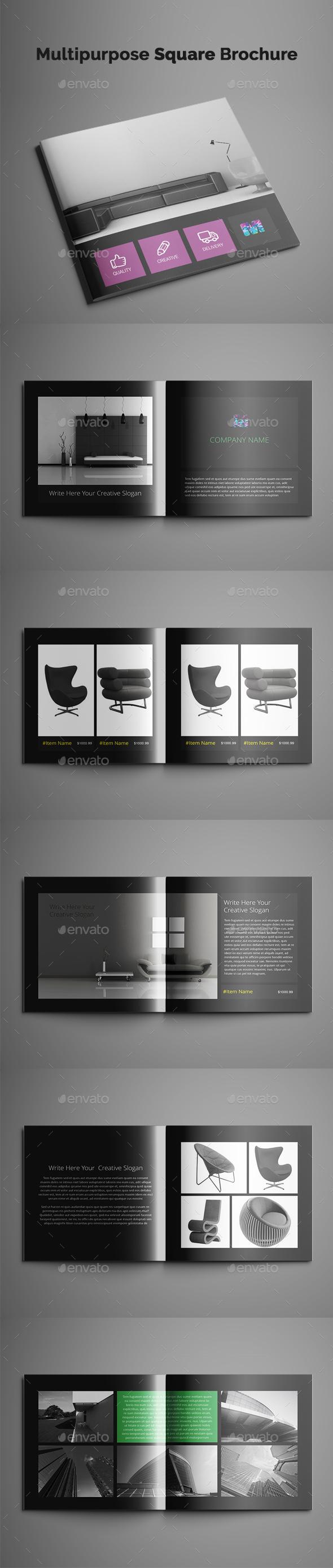 Multipurpose Square Brochure - Brochures Print Templates