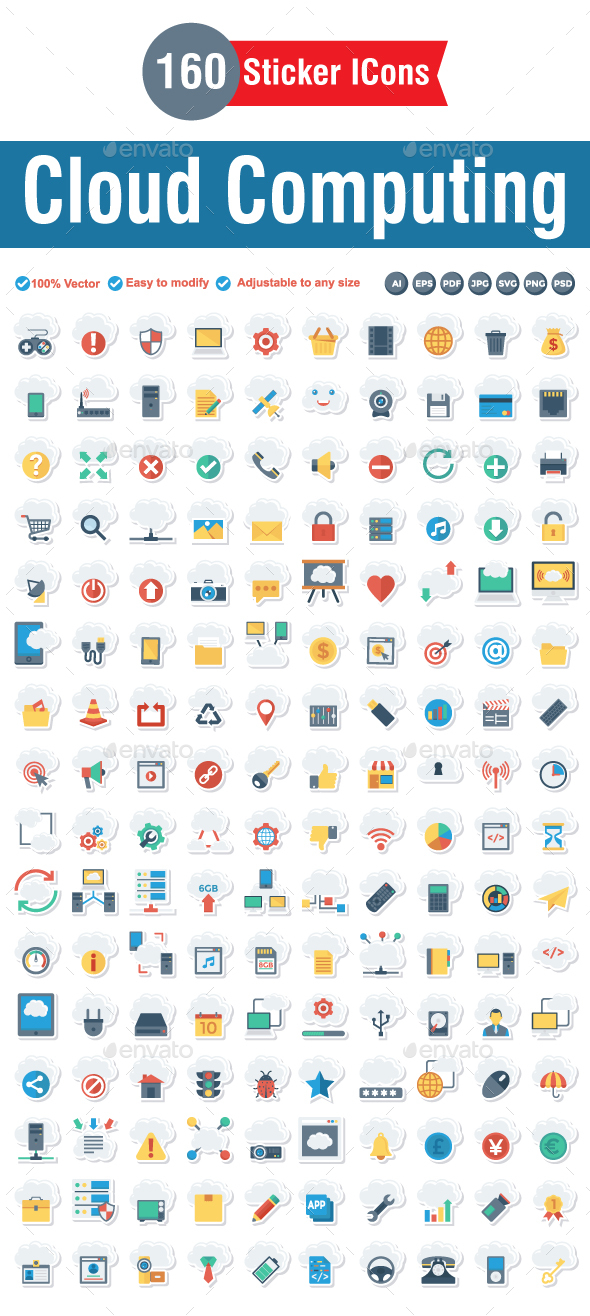 Cloud Computing Flat Paper Icon - Technology Icons