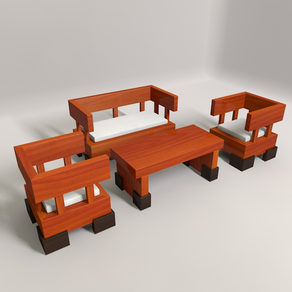 Wooden Guest Seat - 3DOcean Item for Sale