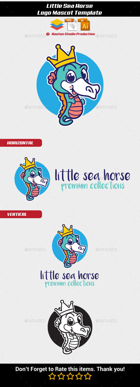 Little Sea Horse - Animals Logo Templates