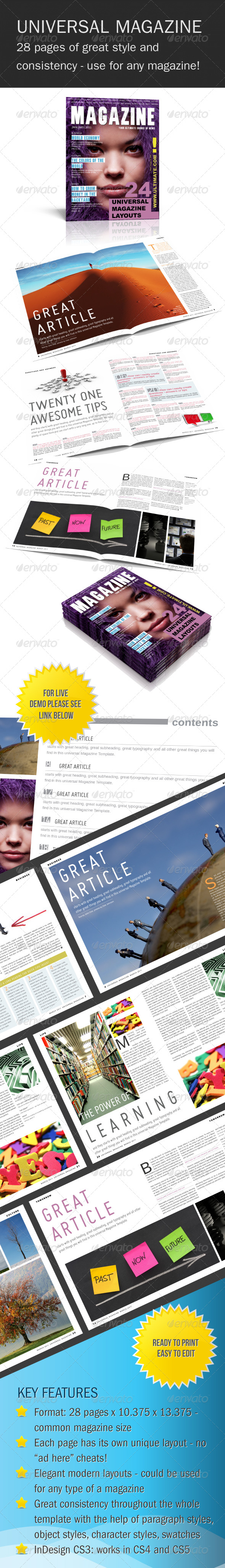 Universal InDesign Magazine Template - Magazines Print Templates