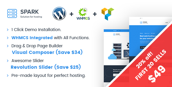 Spark – Responsive WHMCS Hosting WordPress Theme