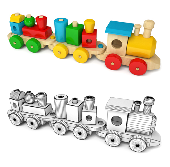 Wooden Toy Train - 3DOcean Item for Sale