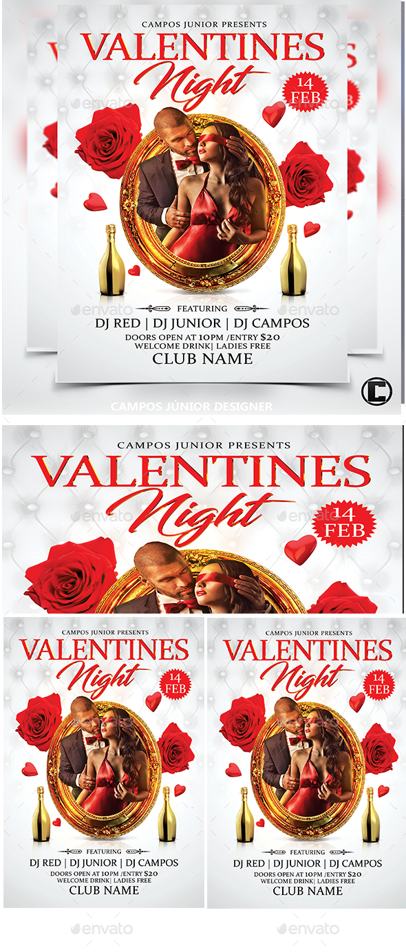 Valentines Nigth- Flyer Template - Clubs & Parties Events