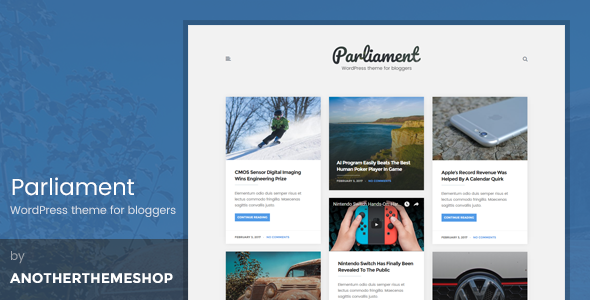 The Parliament - Masonry Grid WordPress Blog Theme - Blog / Magazine WordPress
