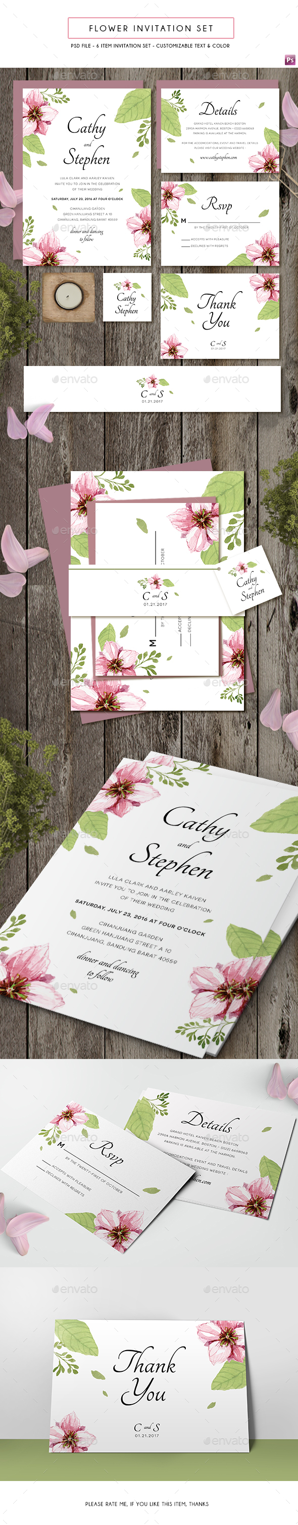 Flower Invitation - Weddings Cards & Invites