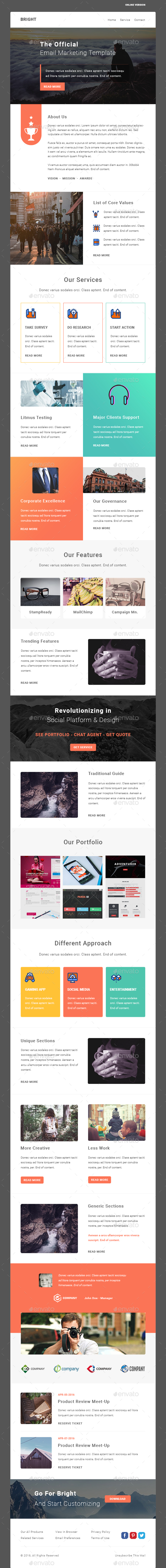 BRIGHT - Multipurpose Email PSD Template - E-newsletters Web Elements