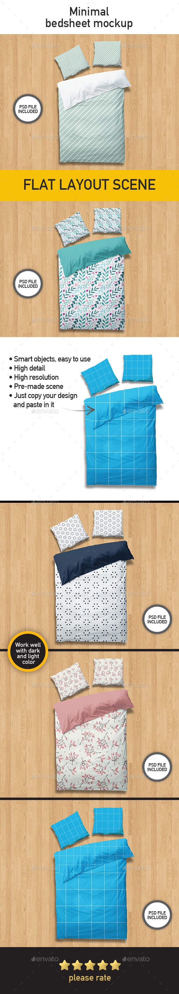 Bed Sheet Mockup with Minimal Style - Miscellaneous Print